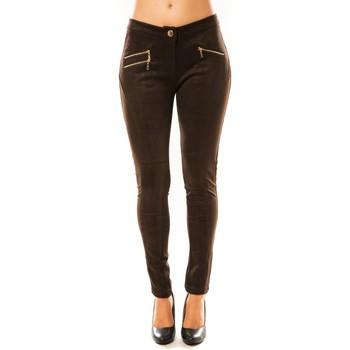 Textiel Dames Losse broeken / Harembroeken Tcqb Pantalon P604 Marron Bruin