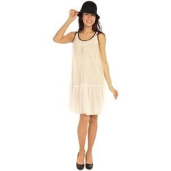 Textiel Dames Korte jurken Aggabarti Robe Tulle 121008 Ecru Beige
