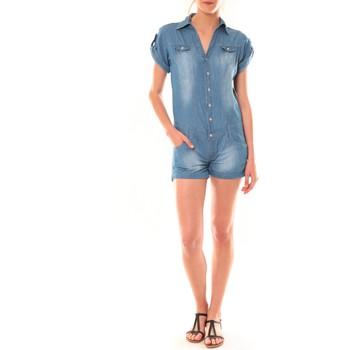 Textiel Dames Jumpsuites / Tuinbroeken Dress Code Combinaison F259  Denim Blauw