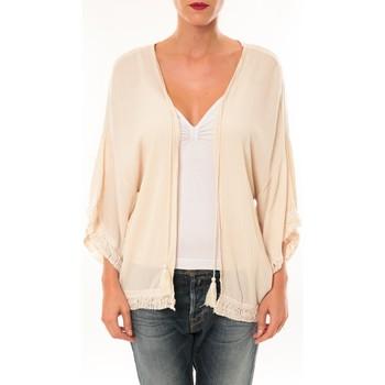 Textiel Dames Vesten / Cardigans De Fil En Aiguille Gilet MC3014 Beige Roze