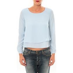 Textiel Dames T-shirts met lange mouwen By La Vitrine Top Z014 bleu Blauw