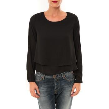 Textiel Dames T-shirts met lange mouwen By La Vitrine Top Z014 noir Zwart