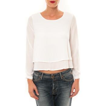Textiel Dames T-shirts met lange mouwen By La Vitrine Top Z014 blanc Wit
