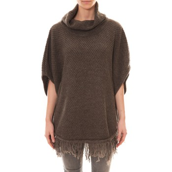 Textiel Dames Vesten / Cardigans La Vitrine De La Mode Poncho Marron Bruin