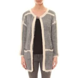 Textiel Dames Vesten / Cardigans De Fil En Aiguille Gilet 1815 Bicolore Gris /Blanc Grijs