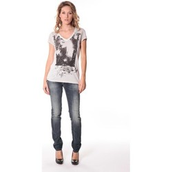 Textiel Dames T-shirts korte mouwen Rich & Royal Tee-shirt Kate 13q431 Ecru Beige