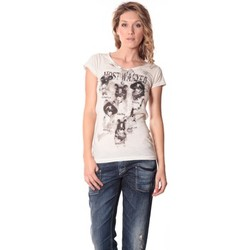 Textiel Dames T-shirts korte mouwen Rich & Royal Rich&Royal Tee shirt Visages Ecru13q465 Beige