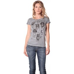 Textiel Dames T-shirts korte mouwen Rich & Royal Rich&Royal Tee shirt Visages Gris 13q465 Grijs