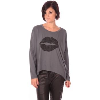 Textiel Dames T-shirts met lange mouwen Charlie Joe Top Lips Gris Grijs