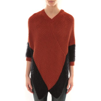 Textiel Dames Vesten / Cardigans Barcelona Moda Poncho Bicolore Oranje