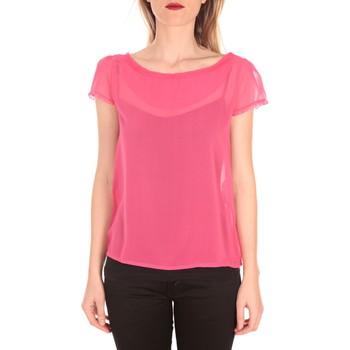 Textiel Dames T-shirts korte mouwen Aggabarti t-shirt voile 121072 fushia Roze