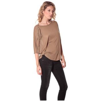 Textiel Dames T-shirts met lange mouwen Rich & Royal Tee-shirt Plumes 13q555 Camel Bruin