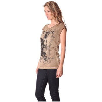 Textiel Dames T-shirts korte mouwen Rich & Royal Tee-shirt Little 13q430 Camel Bruin