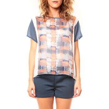 Textiel Dames T-shirts korte mouwen Coquelicot T-shirt CQTW14321 Blanc/Bleu Blauw