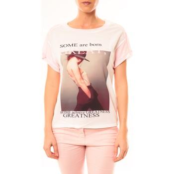 Textiel Dames T-shirts korte mouwen By La Vitrine Tee-shirt B005 Blanc/Rose Roze