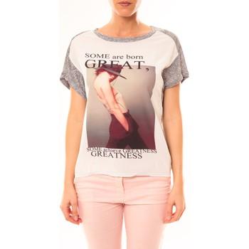 Textiel Dames T-shirts korte mouwen By La Vitrine Tee-shirt B005 Blanc/Gris Grijs