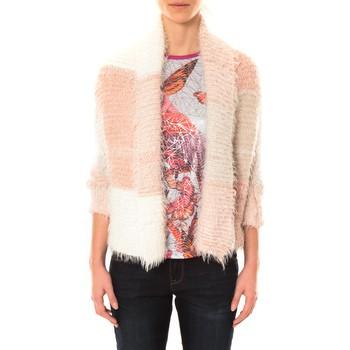 Textiel Dames Vesten / Cardigans De Fil En Aiguille Gilet Bicolore LOLA blanc et rose Roze