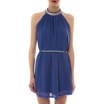 Textiel Dames Korte jurken Vera & Lucy Robe tour de cou col strass Bleu 6W1078A Blauw