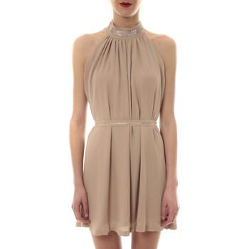 Textiel Dames Korte jurken Vera & Lucy Robe tour de cou col strass Beige 6W1078A Beige