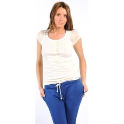 Textiel Dames T-shirts korte mouwen American Vintage TEE-SHIRT MAS05BIS NATUREL Wit