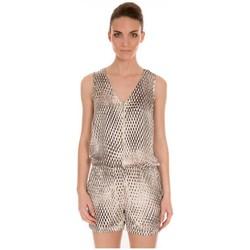 Textiel Dames Jumpsuites / Tuinbroeken LPB Woman Les Petites bombes Combishort Imprimé S166101 Beige