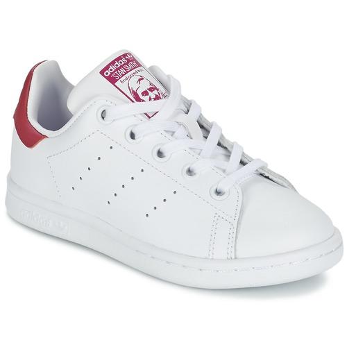 ffe335e2703 Schoenen Meisjes Lage sneakers adidas Originals STAN SMITH EL C Wit / Roze