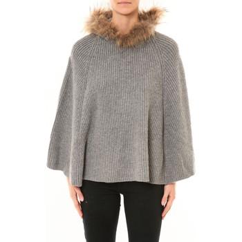Textiel Dames Vesten / Cardigans Nina Rocca Poncho MO-E2019 gris Grijs