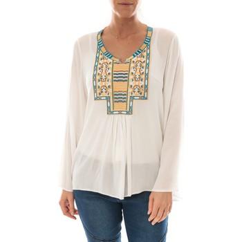 Textiel Dames Tops / Blousjes Barcelona Moda Top Pink Blanc Broderie Bleu Wit