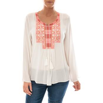 Textiel Dames Tops / Blousjes Barcelona Moda Top Pink Blanc Broderie Corail Wit