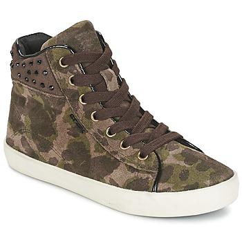 Schoenen Meisjes Hoge sneakers Geox KIWI GIRL Groen