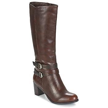Schoenen Dames Hoge laarzen Moony Mood FARANDO Bruin