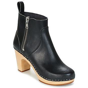 Schoenen Dames Enkellaarzen Swedish hasbeens ZIP IT SUPER HIGH Zwart