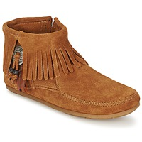 Schoenen Dames Laarzen Minnetonka CONCHO FEATHER SIDE ZIP BOOT Bruin