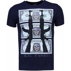 Textiel Heren T-shirts korte mouwen Local Fanatic AK-47 Dollar - Rhinestone T-shirt Blauw