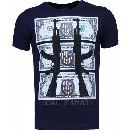 Textiel Heren T-shirts korte mouwen Local Fanatic AK Dollar Rhinestone Blauw