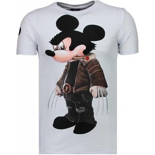 Textiel Heren T-shirts korte mouwen Local Fanatic Bad Mouse Rhinestone Wit