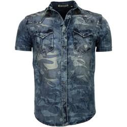 Textiel Heren Overhemden korte mouwen Enos Denim Korte Mouwen Leger Motief Blauw