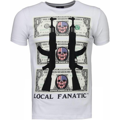 Textiel Heren T-shirts korte mouwen Local Fanatic AK-47 Dollar - Rhinestone T-shirt Wit