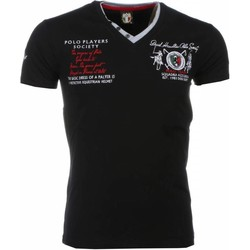 Textiel Heren T-shirts korte mouwen David Mello Italiaanse T-shirt - Korte Mouwen Heren - Borduur Polo Players 38