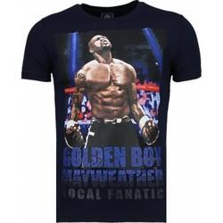 Textiel Heren T-shirts korte mouwen Local Fanatic Golden Boy Mayweather - Rhinestone T-shirt Blauw