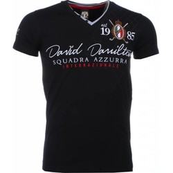 Textiel Heren T-shirts korte mouwen David Mello Italiaanse T-shirt - Korte Mouwen Heren - Borduur Squadra Azzura 38