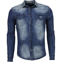 Textiel Heren Overhemden lange mouwen Enos Denim Lange Mouwen Denim Blauw