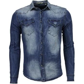 Textiel Heren Overhemden lange mouwen Enos Denim Overhemd - Slim Fit Lange Mouwen Heren - Basic Denim 19