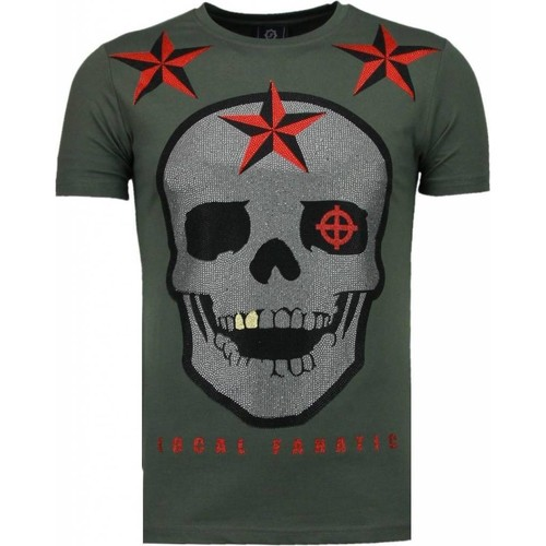 Textiel Heren T-shirts korte mouwen Local Fanatic Rough Player Skull Rhinestone Groen