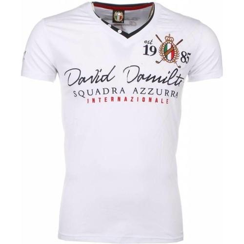 Textiel Heren T-shirts korte mouwen David Copper Korte Mouwen Borduur Squadra Azzura Wit