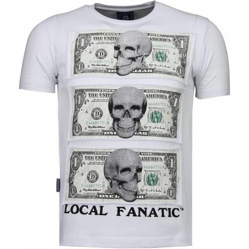 Textiel Heren T-shirts korte mouwen Local Fanatic Beter Have My Money Rhinestone Wit