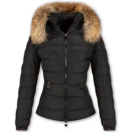 Textiel Dames Dons gevoerde jassen Style Italy Bontjassen Winterjas Kort Bontkraag  Ritsen Zwart