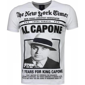 Textiel Heren T-shirts korte mouwen Local Fanatic Al Capone Rhinestone Wit