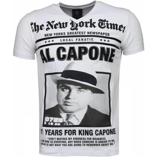Textiel Heren T-shirts korte mouwen Local Fanatic Al Capone Rhinestone Wit