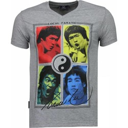 Textiel Heren T-shirts korte mouwen Local Fanatic Bruce Lee Ying Yang Grijs